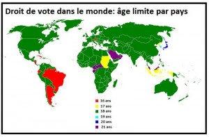 Carte sur l'âge du droit de vote dans le monde